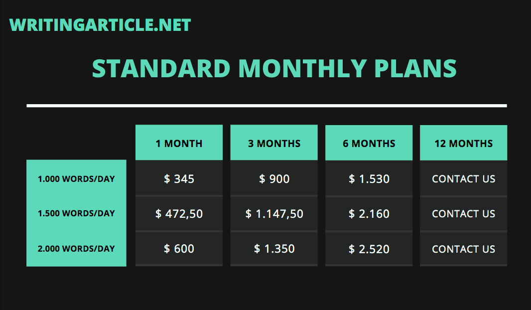STANDARD MONTHLY PLANS 50 OFF